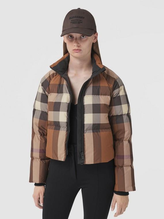Check Cropped Puffer Jacket in Dark Birch Brown