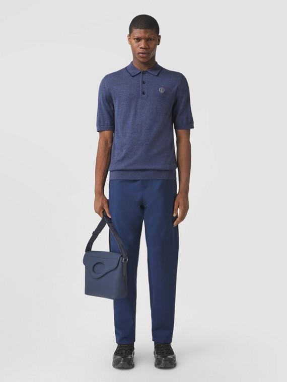 Monogram Motif Wool Silk Cashmere Polo Shirt in Ink Blue