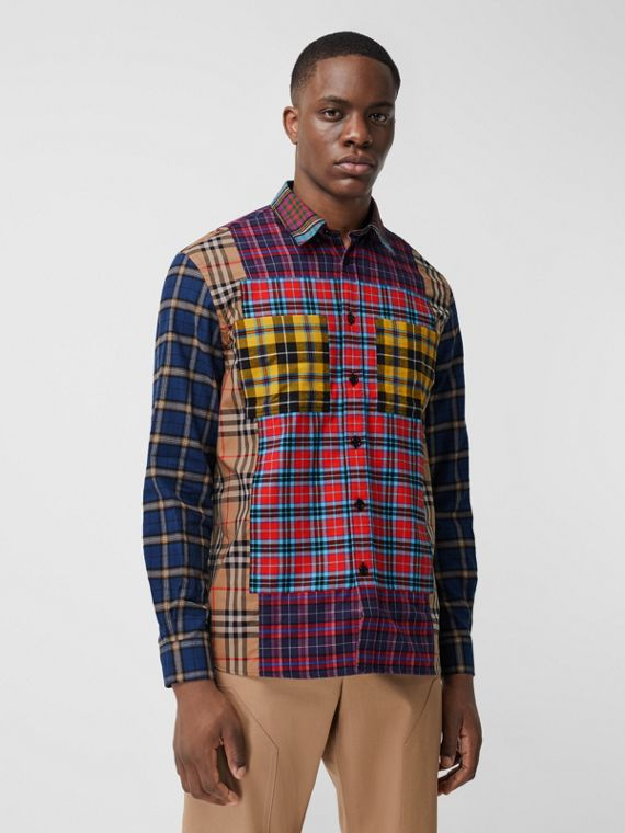 Patchwork Check Cotton Oversized Shirt in Navy