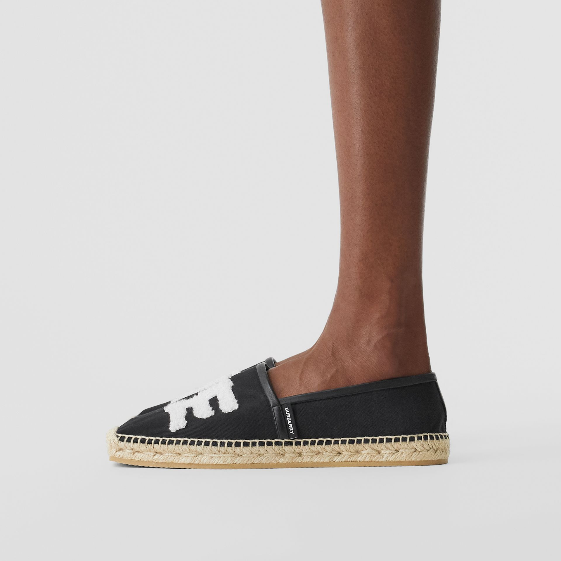 Love Motif Cotton Espadrilles in Black - Women | Burberry - gallery image 2