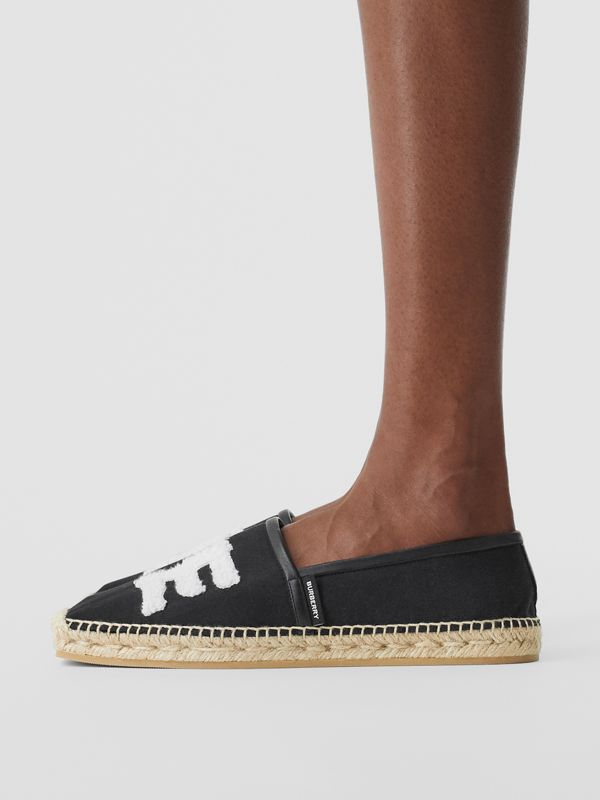 Love Motif Cotton Espadrilles in Black - Women | Burberry - cell image 2