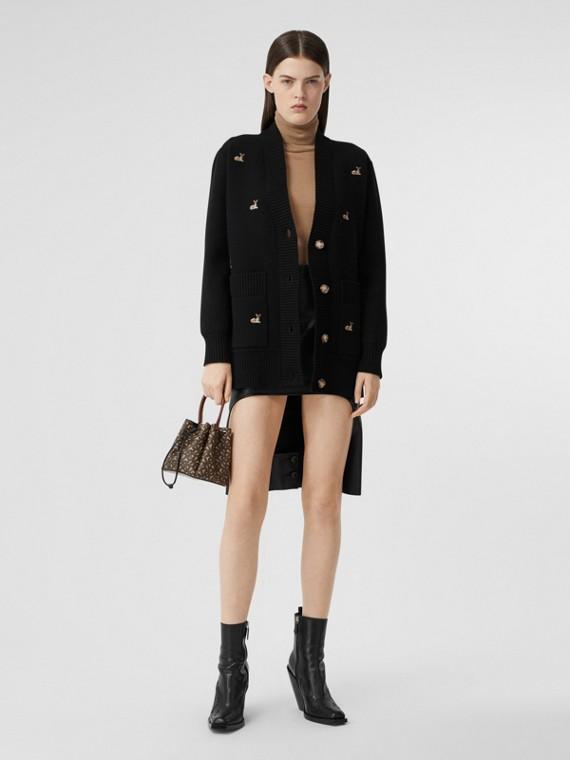 Cardigan oversize in misto lana e cashmere con cerbiatti (Nero)