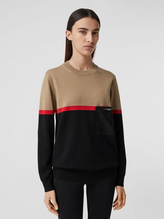 Colour Block Merino Wool Cotton Sweater in Black