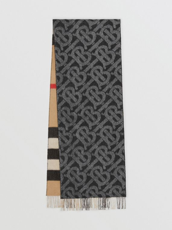 Reversible Check and Monogram Cashmere Scarf in Black/white