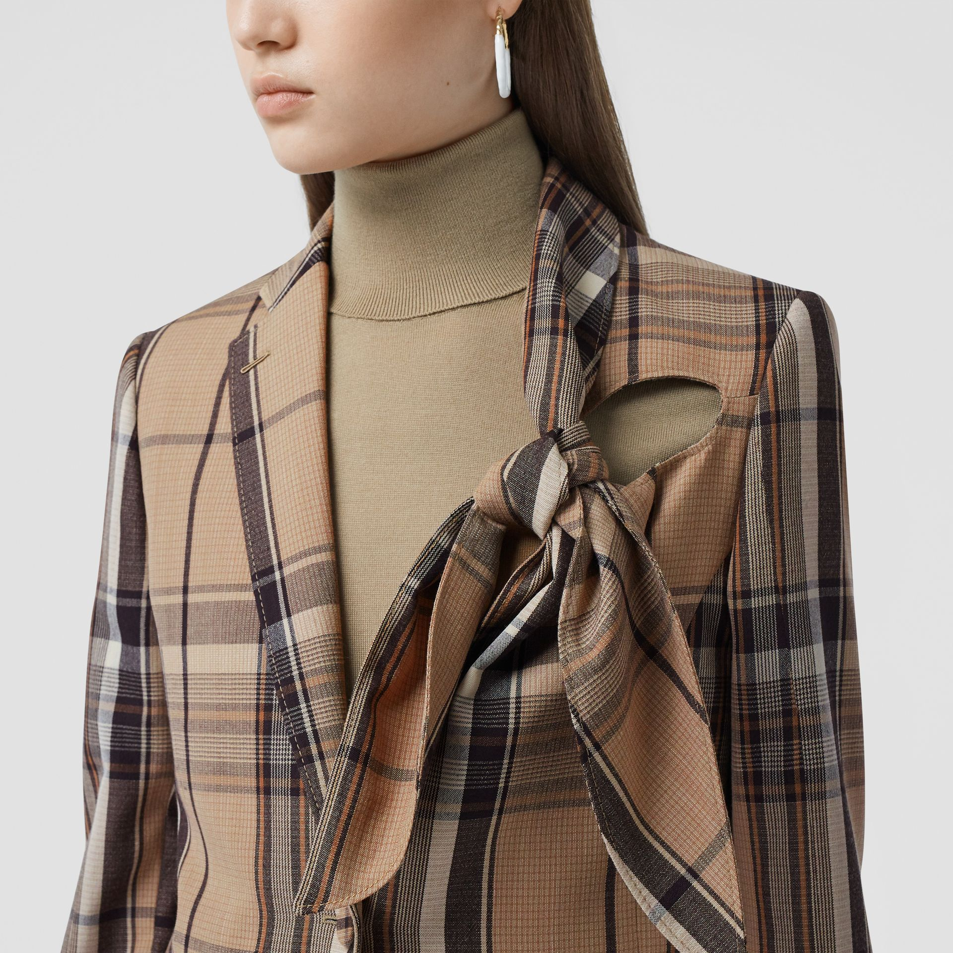 Knot Detail Check Wool Tailored Jacket - Women   Burberry United Kingdom - gallery image 1