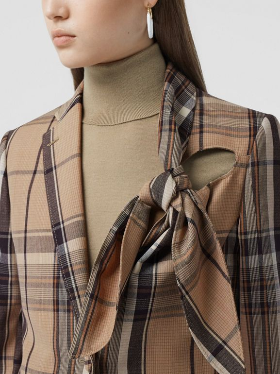 Knot Detail Check Wool Tailored Jacket - Women   Burberry United Kingdom - cell image 1