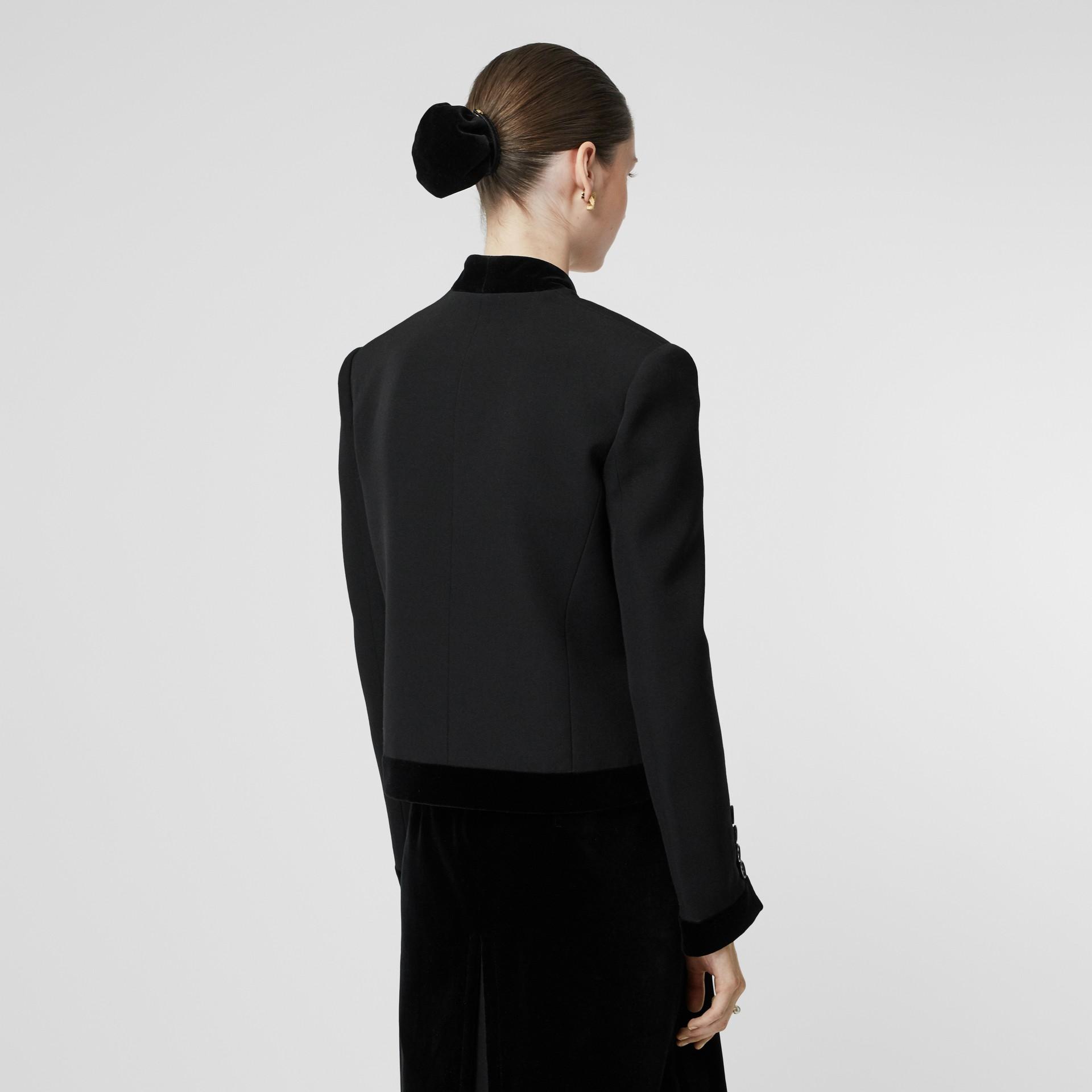 Velvet Detail Wool Tailored Jacket in Black - Women | Burberry - gallery image 2