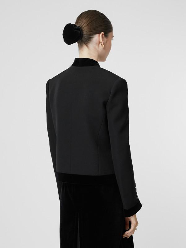 Velvet Detail Wool Tailored Jacket in Black - Women | Burberry - cell image 2