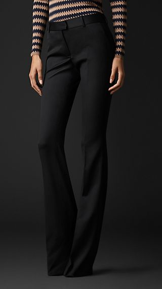 Stretch Wool Flared Trousers