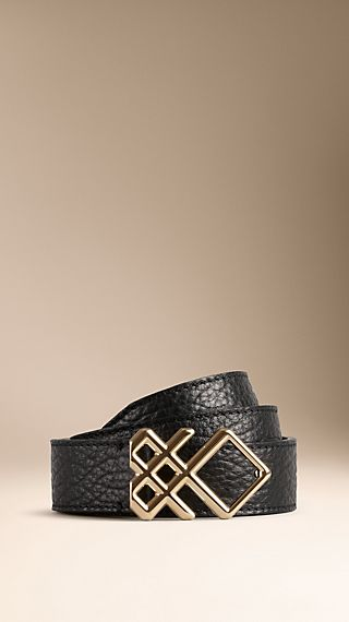 Check Buckle Leather Belt
