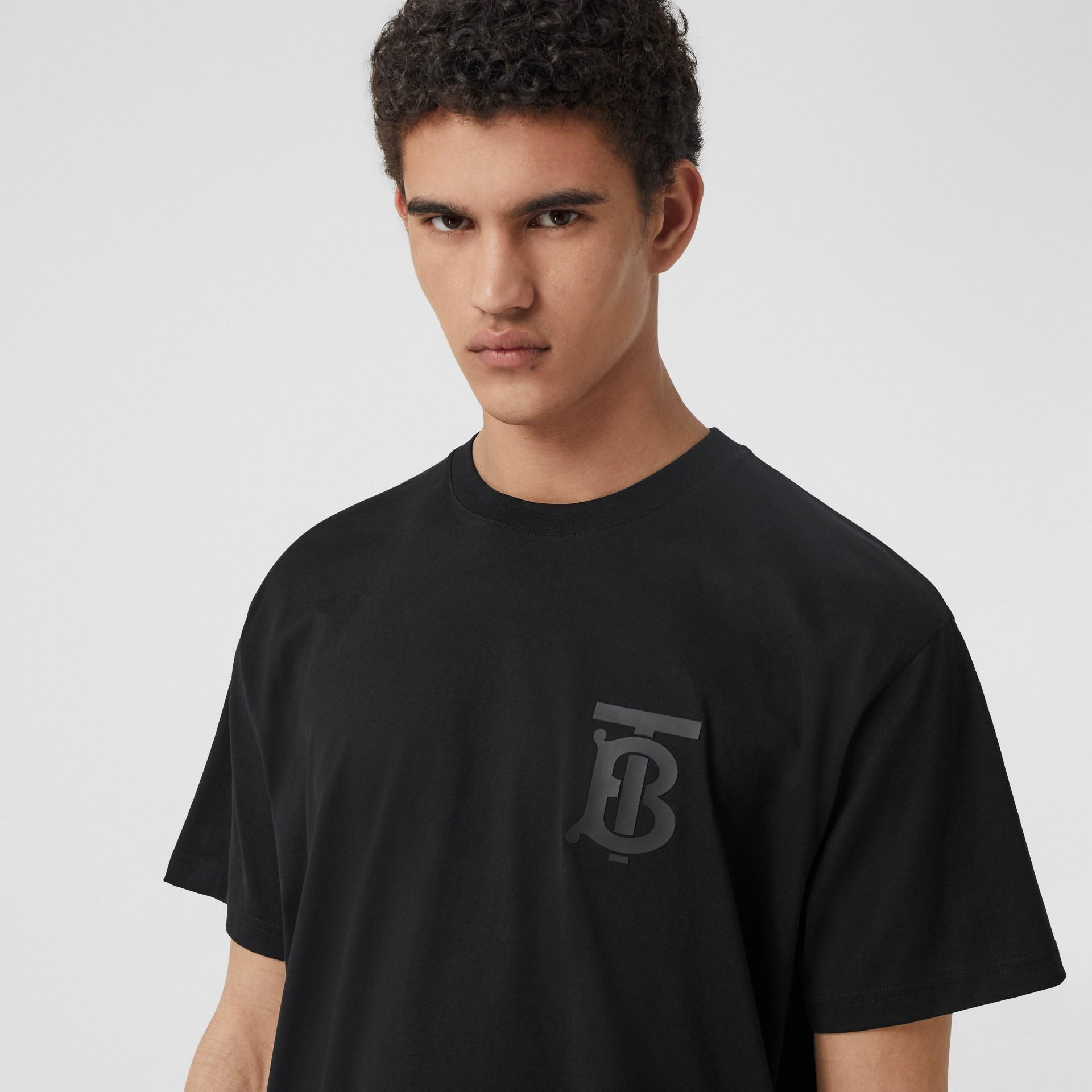 Monogram Motif Cotton Oversized T-shirt in Black - Men | Burberry United Kingdom - gallery image 1