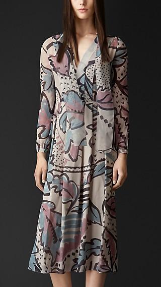 Floral Print Layered Silk Smock Dress