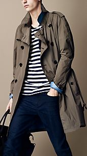 Trench coat de longitud media con forro a contraste