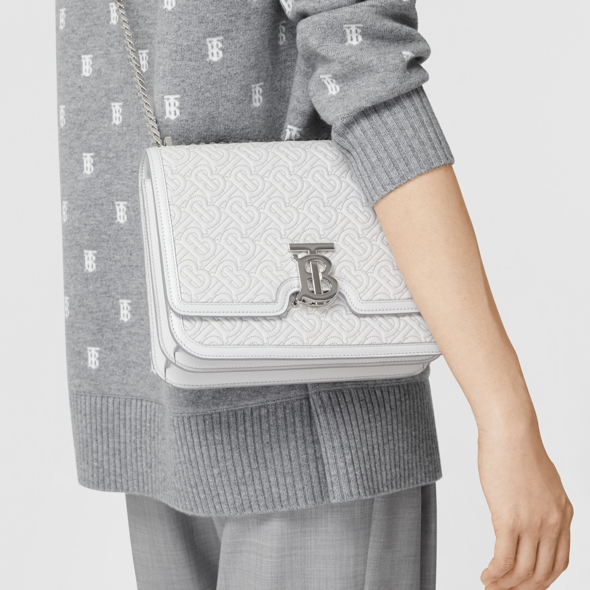 Medium Quilted Monogram Lambskin TB Bag in Light Pebble Grey - Women | Burberry Australia - gallery image 8