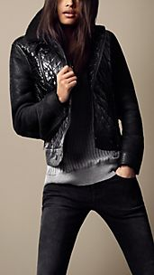 Sport Collection Shearling Detail Quilted Bomber Jacket
