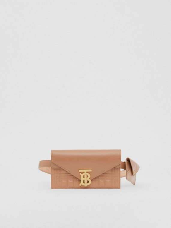 Belted Quilted Lambskin TB Envelope Clutch in Warm Camel