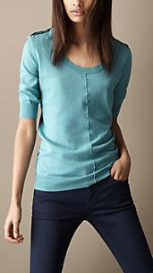 Epaulette Detail Cotton Top