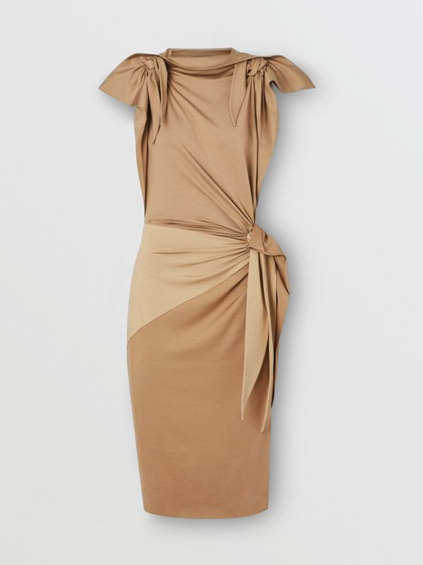Tie Detail Tri-tone Silk Jersey Dress in Wheat - Women | Burberry - cell image 3