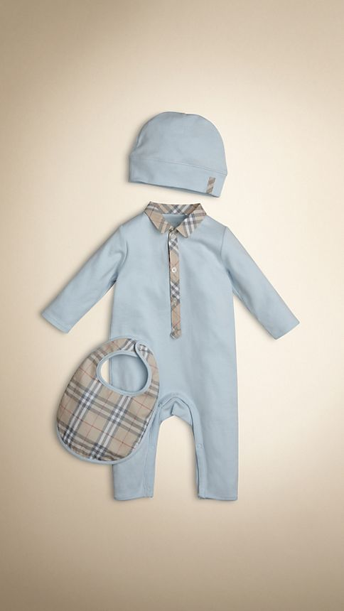 Burberry Baby Gift Sets : Cotton three piece baby gift set porcelain blue burberry