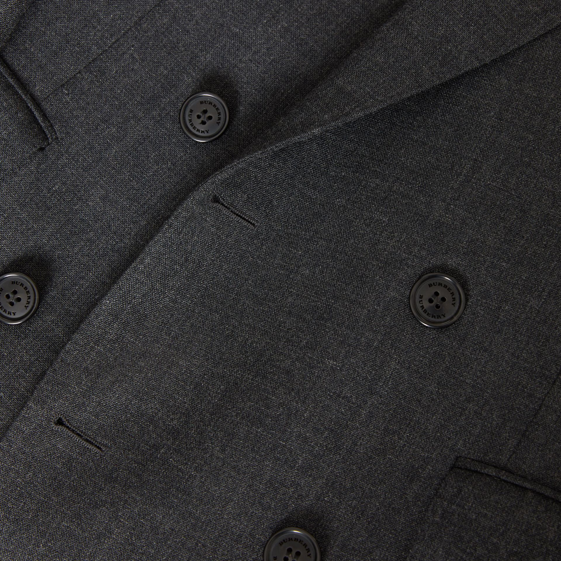 English Fit Wool Double-breasted Jacket in Dark Grey - Men | Burberry - gallery image 1