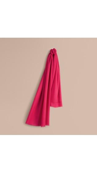 轻盈羊绒围巾 亮桃红色