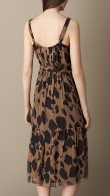 动物纹丝质连衣裙