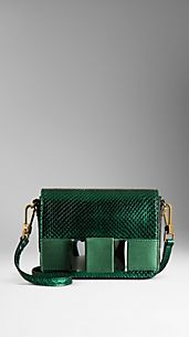 Bow Detail Python Crossbody Bag