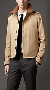 Wool Collar Cotton Gabardine Jacket