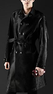 Contrast Collar Calfskin Trench Coat