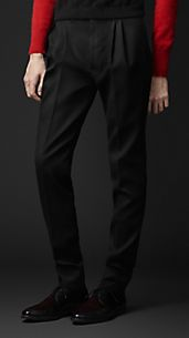 Pleat Front Slim Fit Wool Trousers