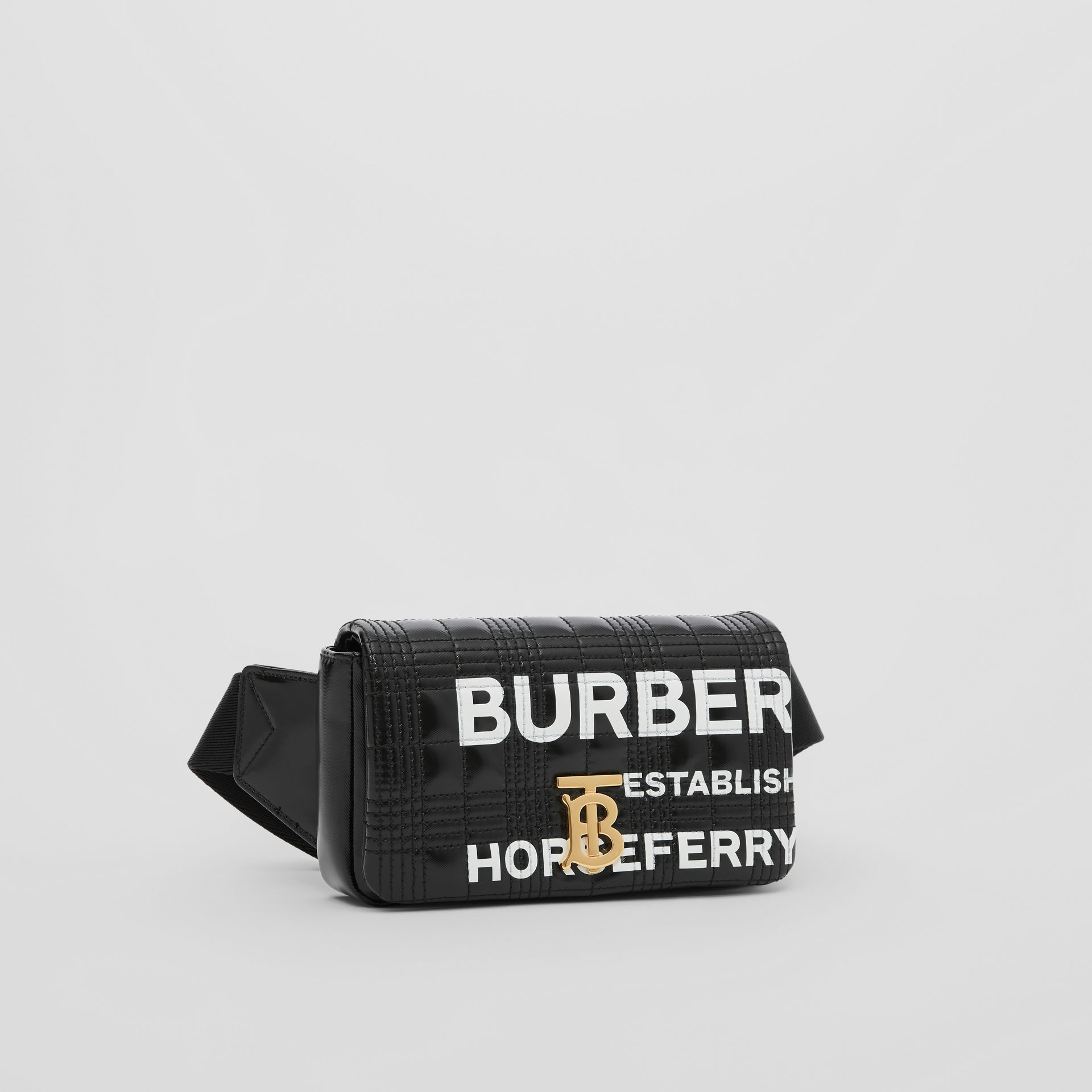Horseferry Print Quilted Coated Canvas Lola Bum Bag in Black | Burberry - gallery image 8