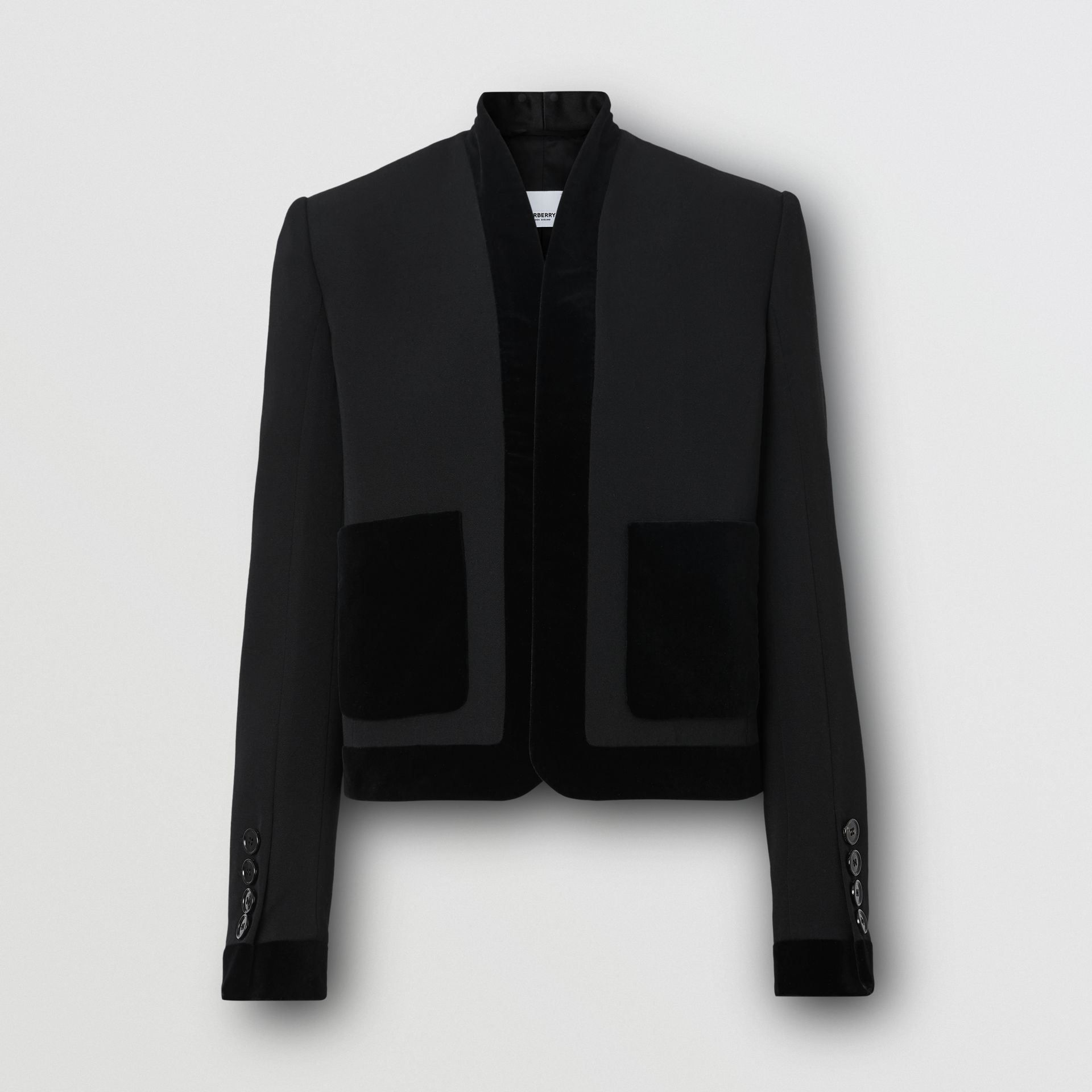 Velvet Detail Wool Tailored Jacket in Black - Women | Burberry - gallery image 3