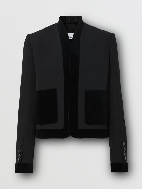 Velvet Detail Wool Tailored Jacket in Black - Women | Burberry - cell image 3