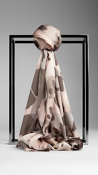 Animal Print Check Silk Scarf