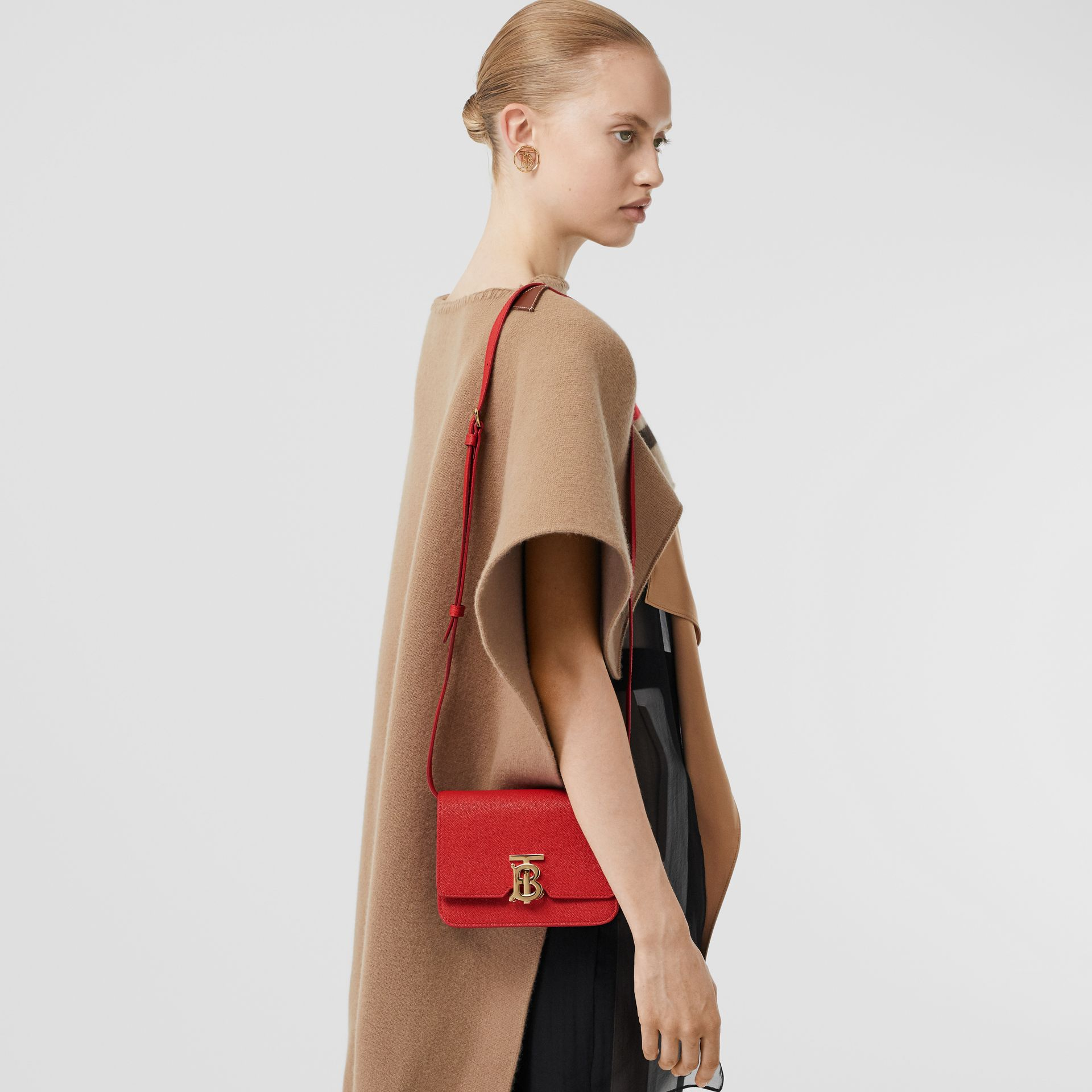 Mini Grainy Leather TB Bag in Bright Red - Women | Burberry Canada - gallery image 8