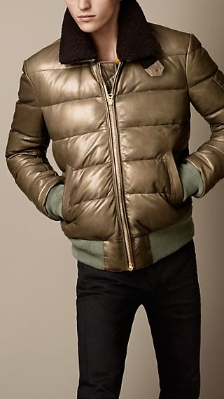 Down-Filled Nappa Leather Bomber Jacket