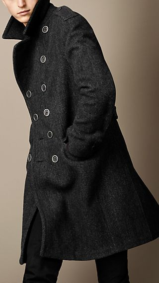 Bonded Wool Herringbone Coat