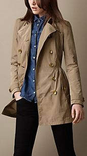Short Gathered Skirt Trench Coat