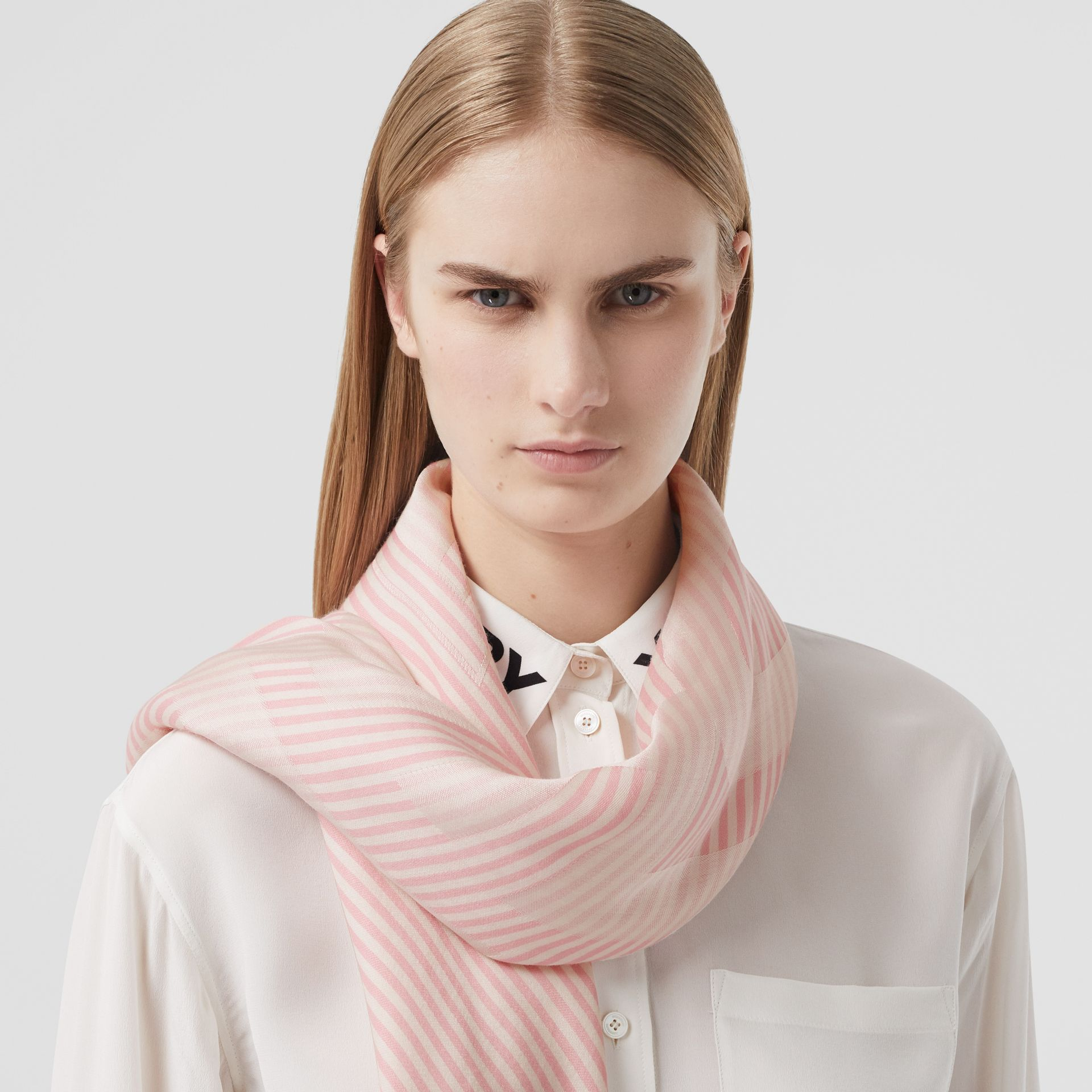 Striped Logo Silk Wool Jacquard Large Square Scarf in Peony Pink | Burberry - gallery image 2