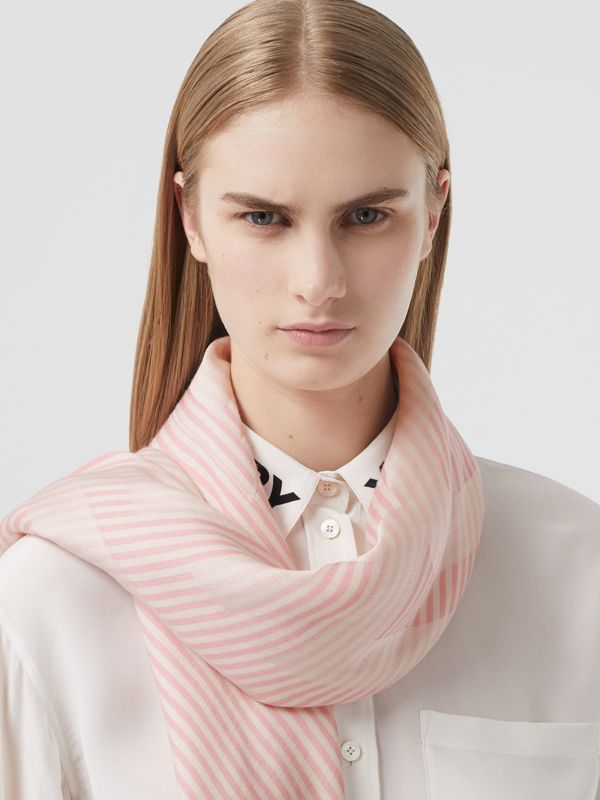 Striped Logo Silk Wool Jacquard Large Square Scarf in Peony Pink | Burberry - cell image 2