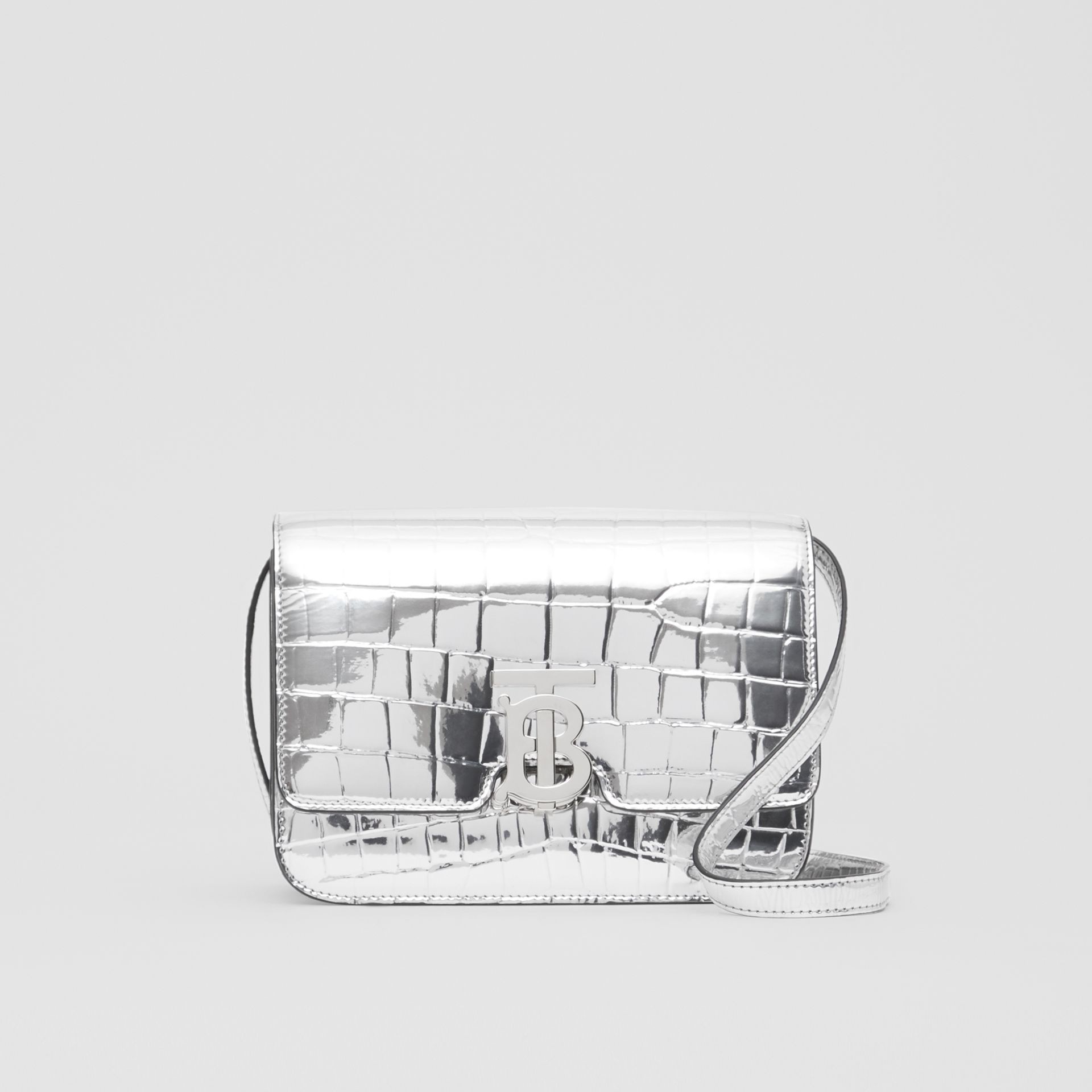 Small Metallic Embossed TB Bag in Silver - Women | Burberry Australia - gallery image 0