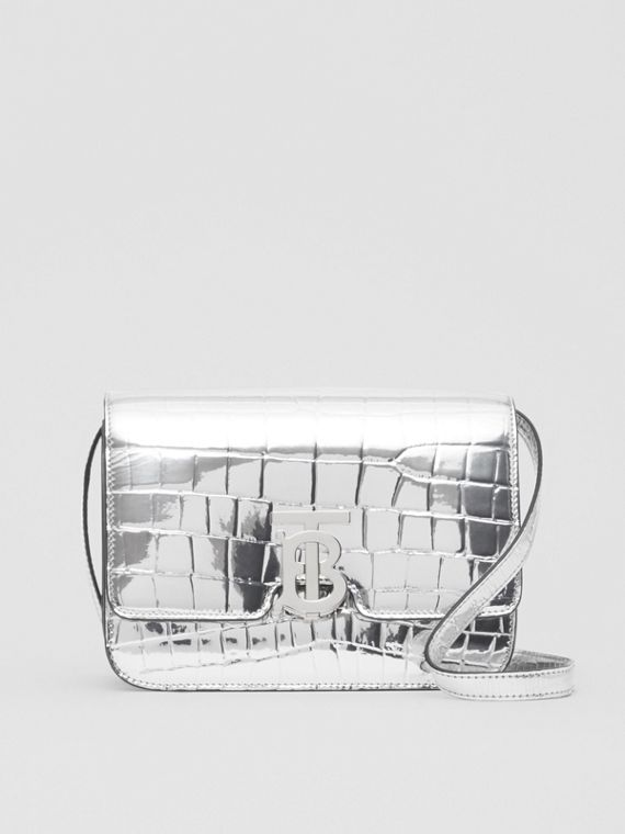 Small Metallic Embossed TB Bag in Silver