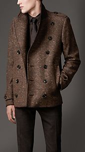 Wool Blend Cropped Pea Coat