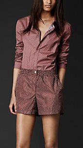 Cotton Geometric Print Shirt