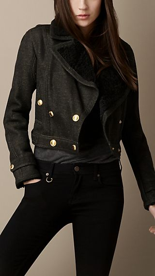 Cropped Shearling Trim Military Jacket