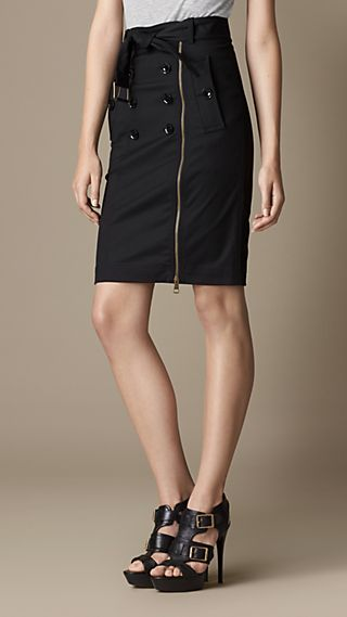 Zip Detail Heritage Pencil Skirt