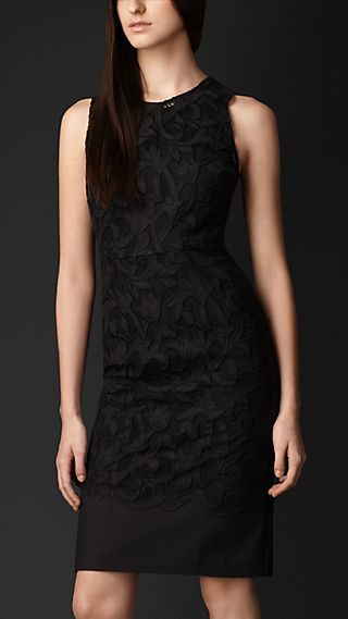 Laser-Cut Lace Shift Dress