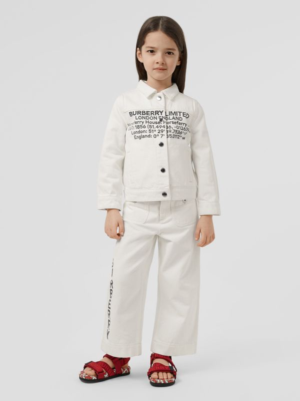 Location Print Japanese Denim Jacket in Natural White | Burberry - cell image 2