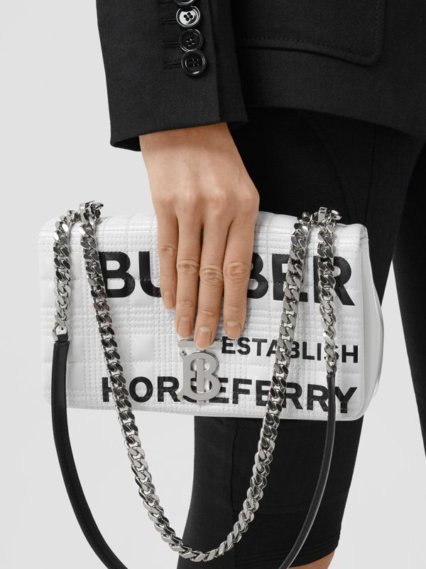 Small Horseferry Print Quilted Lola Bag in White | Burberry - cell image 2