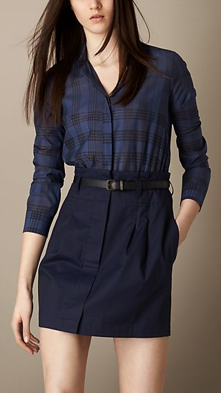 Check Cotton Silk Shirt Dress